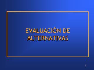 EVALUACI�N DE ALTERNATIVAS