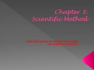 Chapter 3:  Scientific Method