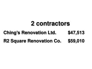 2 contractors Ching's Renovation Ltd.		$47,513 R2 Square Renovation Co.	$59,010