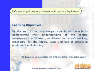 Safe Working Procedure   Personal Protective Equipment
