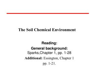 The Soil Chemical Environment