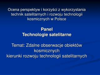 Zdalne obserwacje - teledetekcja   Remote Sensing