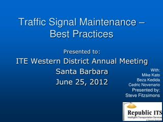 Traffic Signal Maintenance – Best Practices