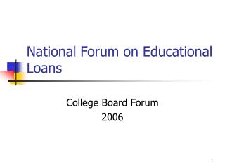 National Forum on Educational Loans
