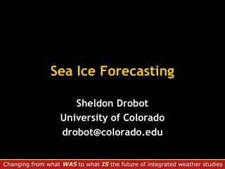 Sea Ice Forecasting
