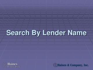 Search By Lender Name