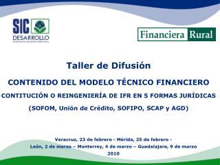Taller de Difusión  CONTENIDO DEL MODELO TÉCNICO FINANCIERO