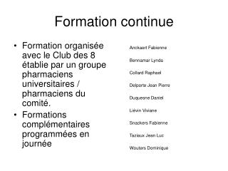 Formation continue