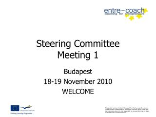 Steering Committee  Meeting 1