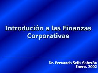 Introdución a las Finanzas Corporativas