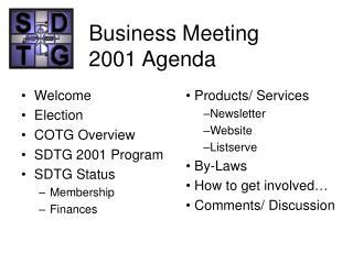 Business Meeting 2001 Agenda