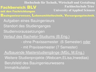 Hochschule für Technik, Wirtschaft und Gestaltung Fachhochschule Trier
