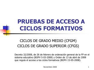 PRUEBAS DE ACCESO A CICLOS FORMATIVOS