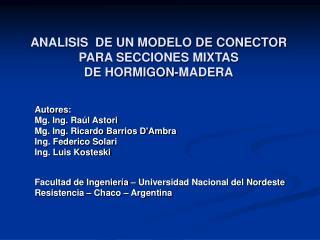 ANALISIS  DE UN MODELO DE CONECTOR PARA SECCIONES MIXTAS  DE HORMIGON-MADERA