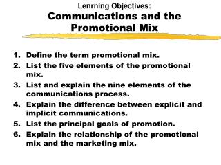 Lenrning Objectives: Communications and the Promotional Mix