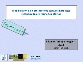 Modélisation d'un protocole de capture-marquage-recapture (plate-forme SimMasto).