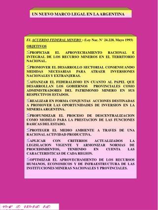 UN NUEVO MARCO LEGAL EN LA ARGENTINA