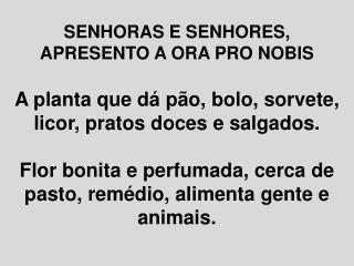 SENHORAS E SENHORES, APRESENTO A ORA PRO NOBIS