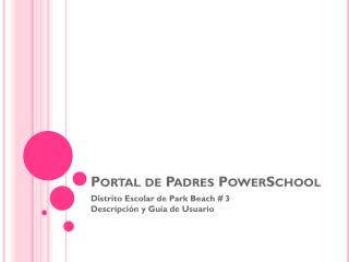 Portal de Padres PowerSchool