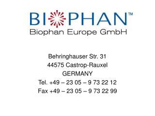 Behringhauser Str. 31 44575 Castrop-Rauxel GERMANY Tel. +49 – 23 05 – 9 73 22 12