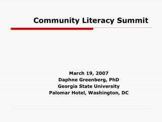 Community Literacy Summit