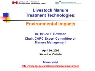 Livestock Manure  Treatment Technologies: