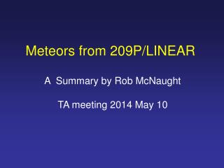 Meteors from 209P/LINEAR