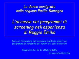 programmi di screening oncologici nell'esperienza di Reggio Emilia