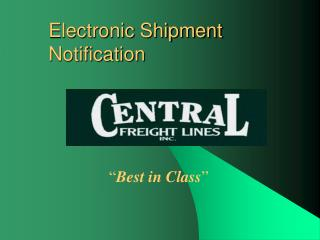 Electronic Shipment Notification