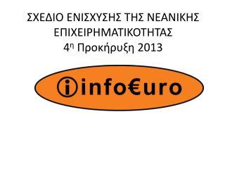 ΣΧΕΔΙΟ ΕΝΙΣΧΥΣΗΣ ΤΗΣ ΝΕΑΝΙΚΗΣ ΕΠΙΧΕΙΡΗΜΑΤΙΚΟΤΗΤΑΣ 4 η  Προκήρυξη 2013