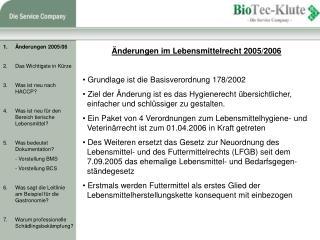 Änderungen im Lebensmittelrecht 2005/2006  Grundlage ist die Basisverordnung 178/2002