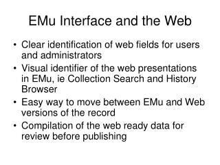 EMu Interface and the Web