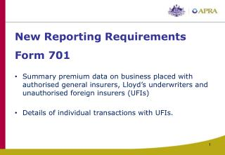 New Reporting Requirements Form 701