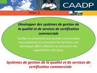 Systèmes de gestion de la qualité et de services de certification commerciale