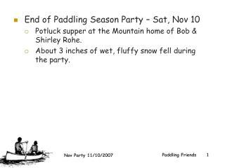 End of Paddling Season Party – Sat, Nov 10