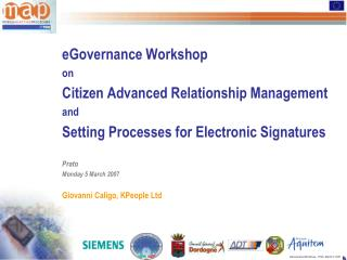 eGovernance Workshop on Citizen Advanced Relationship Management and