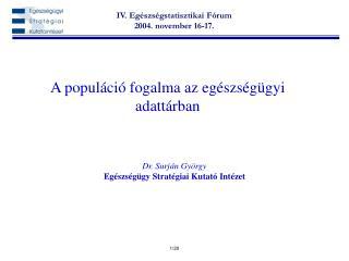 A populáció fogalma az egészségügyi adattárban