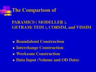 The Comparison of   PARAMICS  MODELLER , GETRAM TEDI , CORSIM, and VISSIM