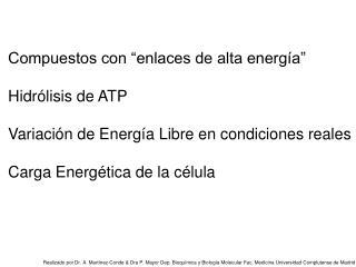 """Compuestos con """"enlaces de alta energía"""" Hidrólisis de ATP"""