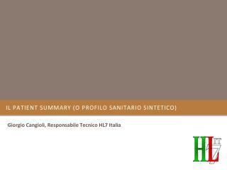 il  Patient Summary  (o Profilo Sanitario Sintetico)