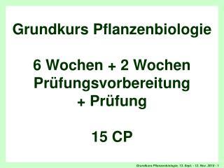 Titel Grundkurs Pflanzenbiologie