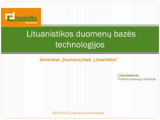 Lituanistikos duomenų bazės technologijos
