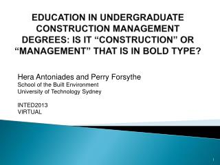 Hera Antoniades and Perry Forsythe School of the Built Environment University of Technology Sydney