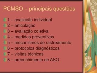 PCMSO – principais questões