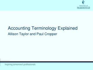 Accounting Terminology Explained Allison Taylor and Paul Cropper