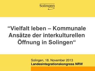 �Vielfalt leben � Kommunale Ans�tze der interkulturellen �ffnung in Solingen�