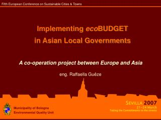 Implementing  eco BUDGET  in Asian Local Governments