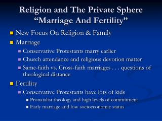 "Religion and The Private Sphere ""Marriage And Fertility"""