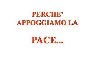 PERCHE' APPOGGIAMO LA PACE...