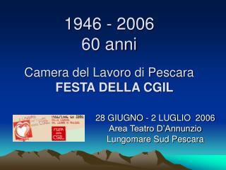 1946 - 2006 60 anni Camera del Lavoro di Pescara FESTA DELLA CGIL